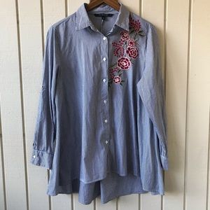 Walter Baker Button Up Striped Embroidered Tunic